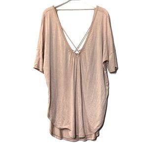 Lush blush pink crisscross tunic blouse XS